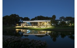 Joondalup Resort Reception Centre at night overlooking water   Copyright Brian Smyth